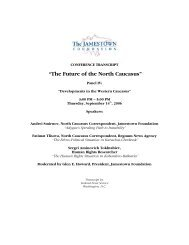 """""""The Future of the North Caucasus"""" - The Jamestown Foundation"""
