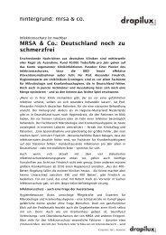 MRSA & Co.: Deutschland noch zu schmerzfrei - Drapilux