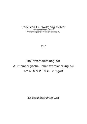 Rede von Dr. Wolfgang Oehler zur Hauptversammlung der ...