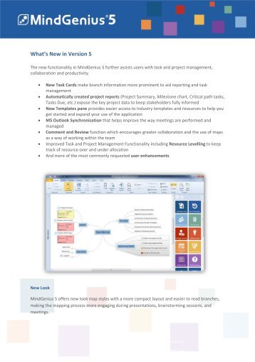 View our What's New in Version 5 PDF Find out more ... - MindGenius