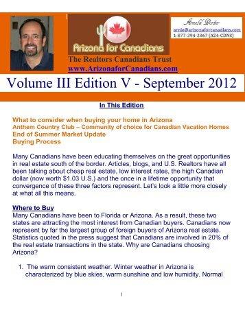 Volume III Edition V - September 2012 - Arizona for Canadians