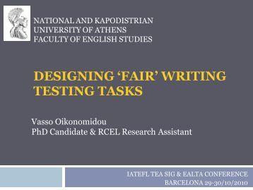 Designing 'fair' writing testing tasks - ealta