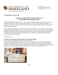 University of Maryland Announces Winners of First Mobility ...