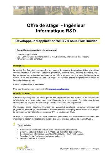 Offre de stage - Ingénieur Informatique R&D - Eco Compteur