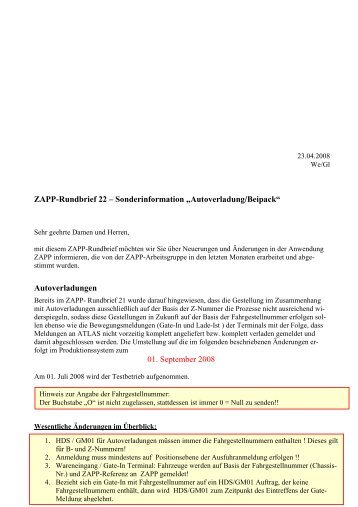 ZAPP-Rundbrief 22 - DAKOSY Datenkommunikationssystem AG