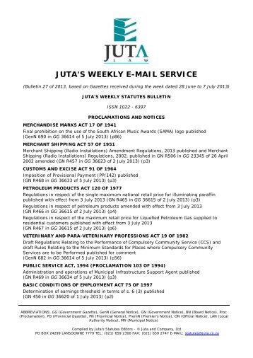 Download the PDF version of Juta's Weekly Statutes ... - Juta - Law