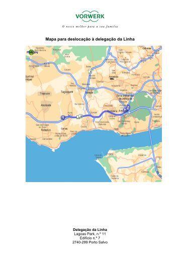 Mapa para deslocação à delegação da Linha