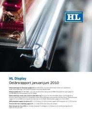HL Display Delårsrapport januari-juni 2010