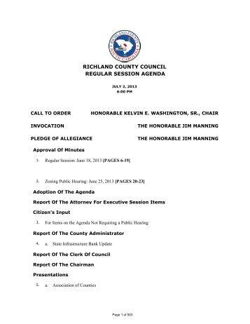 RICHLAND COUNTY COUNCIL REGULAR SESSION AGENDA