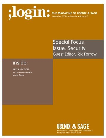 inside: Special Focus Issue: Security