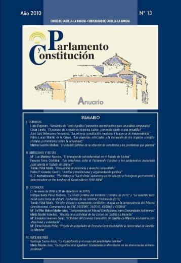 Parlamento y Constitución. Anuario núm. 13 (2010) - Cortes de ...