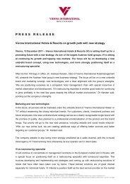 PRESS RELEASE - Vienna International Hotels & Resorts