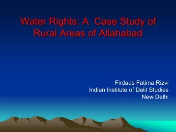 Water Rights: A Case Study of Rural Areas of Allahabad
