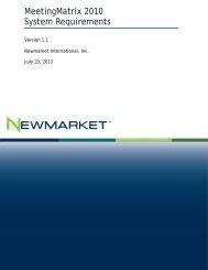 MeetingMatrix 2010 System Requirements - Newmarket ...