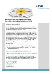 Datenqualität und Vermarktungsagilität durch Stammdaten ... - ISB AG