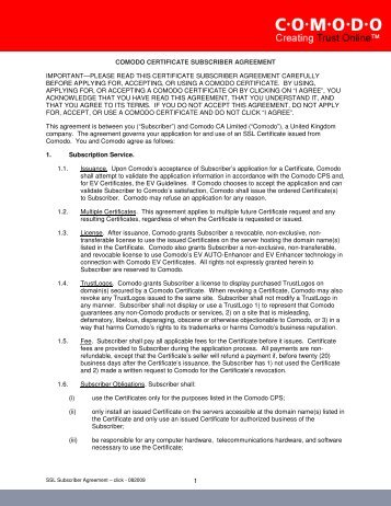 1 COMODO CERTIFICATE SUBSCRIBER AGREEMENT ...