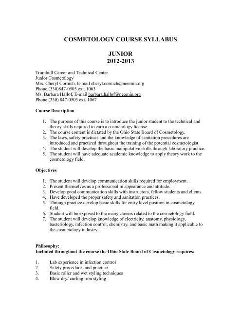COSMETOLOGY COURSE SYLLABUS