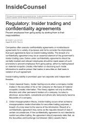 Regulatory: Insider trading and confidentiality agreement- Prevent ...