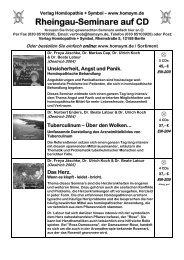 Rheingau-Seminare auf CD - Verlag Homöopathie + Symbol