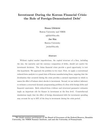 Investment During the Korean Financial Crisis: the Role of Foreign ...