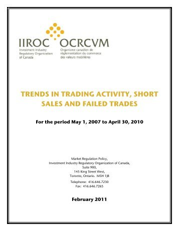 trends in trading activity, short sales and failed trades - IIROC