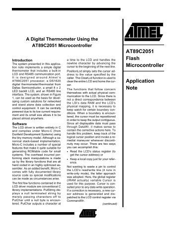 AT89C2051 Flash Microcontroller Application Note
