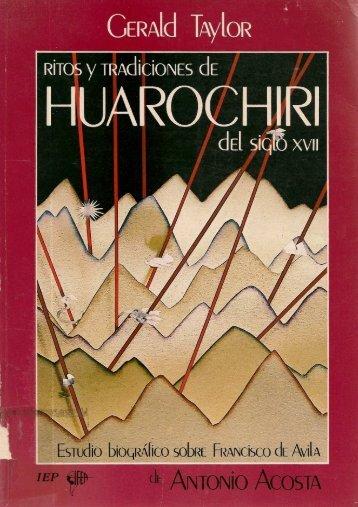 Ritos y tradiciones de Huarochirí del siglo XVII. Estudio biográfico ...