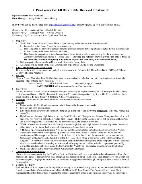 El Paso County Fair 4 H Horse Exhibit Rules And Requirements