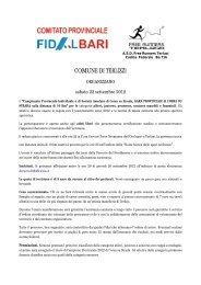 Campionato Provinciale Individuale e di Società ... - FIDAL Bari