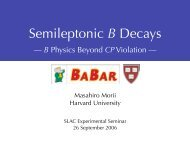 Semileptonic B Decays - Harvard University Department of Physics