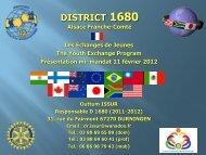 Les échanges - Rotary France District 1680, Alsace