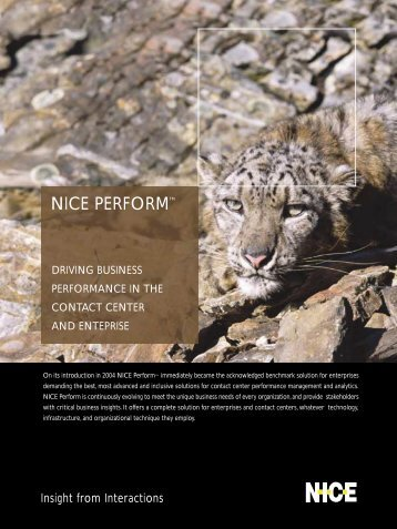 NICE Perform Brochure - Voice Products, Inc.