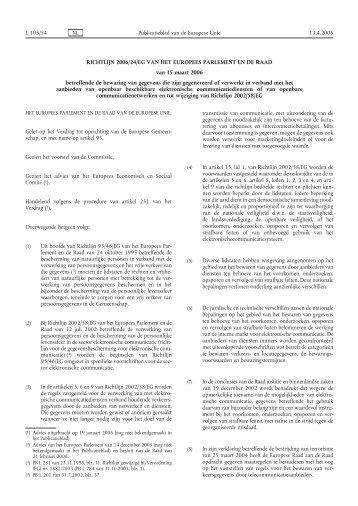 Richtlijn 2006/24/EG - EUR-Lex - Europa