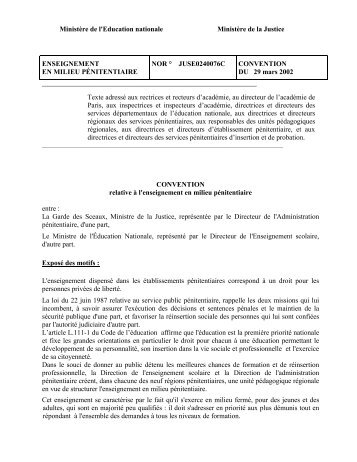 Convention du 29 mars 2002 - Ministère de la Justice