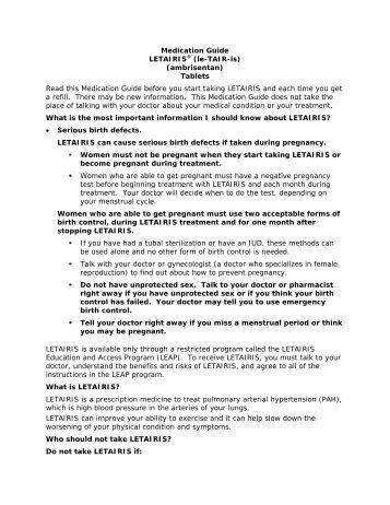 Medication Guide LETAIRIS® (le-TAIR-is ... - Gilead Sciences, Inc.