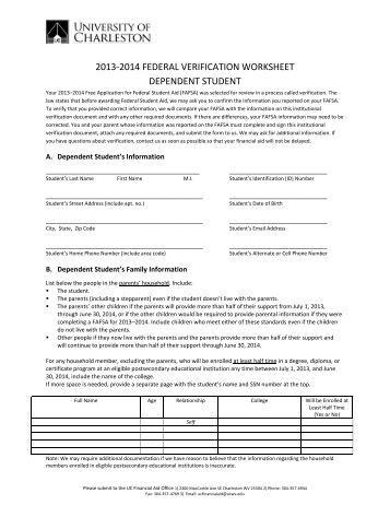 Worksheets Verification Worksheet Dependent Student v1 standard verification worksheet 2013 2014 federal dependent student