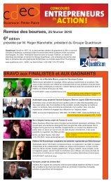 Finalistes et gagnants de la 6e édition du Concours ... - Cdec-rpp.ca