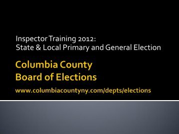 Clerical Inspector - Columbia County