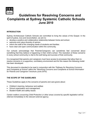 Guidelines for Resolving Concerns and Complaints at School