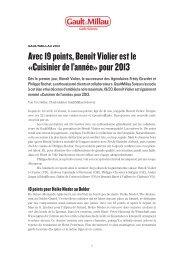 Communiqué de presse GaultMillau Suisse 2013 - Ringier