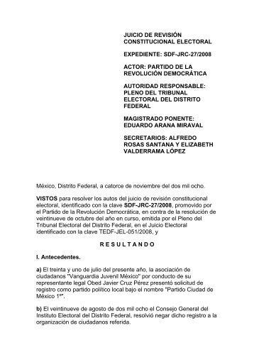 SDF-JRC-027/2008 - Tribunal Electoral del Distrito Federal
