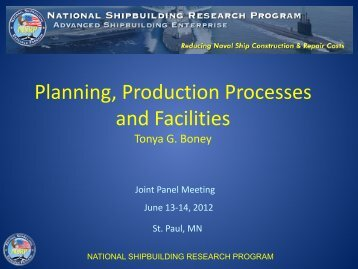 Planning, Production Processes & Facilities Panel - NSRP