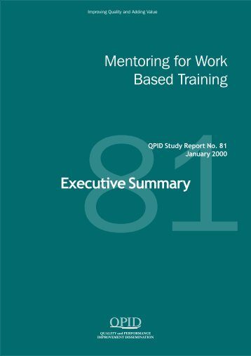 Mentoring for Work Based Training - QPID Study Report No. 81 ...