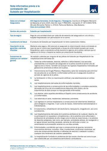 Subsidio por Hospitalización - Axa