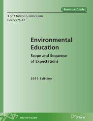 The Ontario Curriculum, Grades 9-12 - Ministère de l'éducation ...