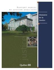 Rapport annuel de gestion 2002 2003. - Ministère de la Justice ...