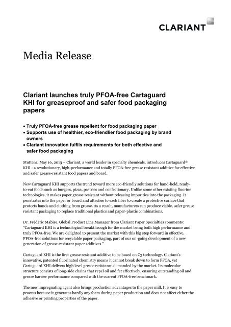 Clariant launches truly PFOA-free Cartaguard KHI for greaseproof