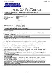 safety data sheet ronseal multi-purpose wood filler - Toolbank