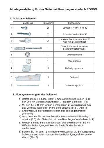 Montageanleitung für das Seitenteil Rundbogen ... - Heim und Hobby