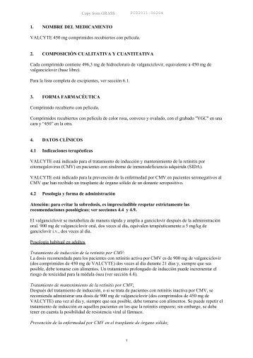 1. NOMBRE DEL MEDICAMENTO VALCYTE 450 mg comprimidos ...